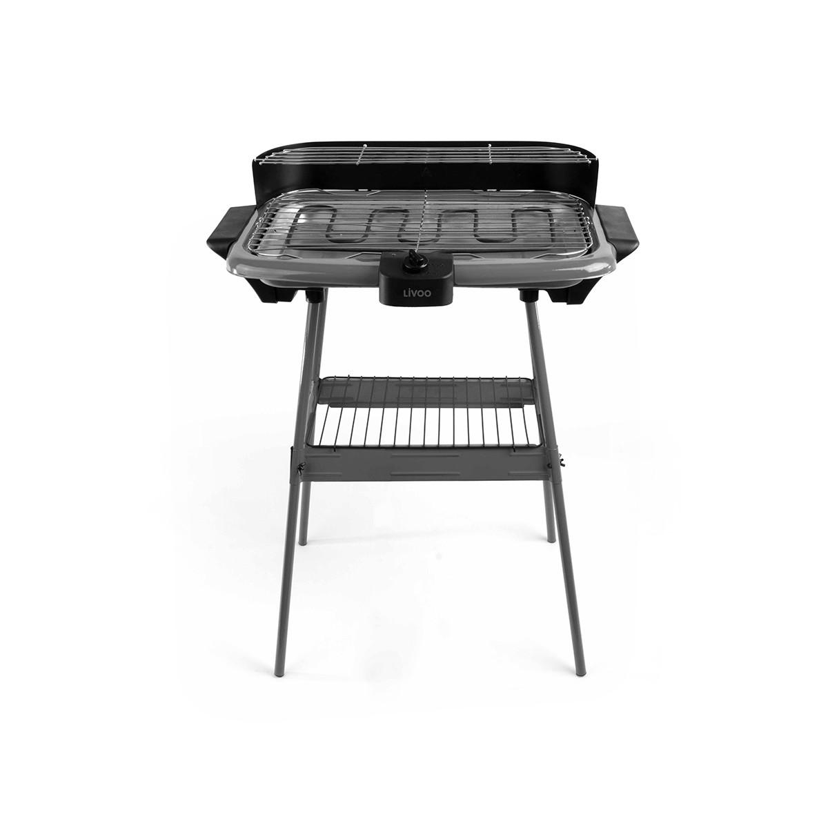 Livoo Barbecue electrique sur pieds en Métal Gris