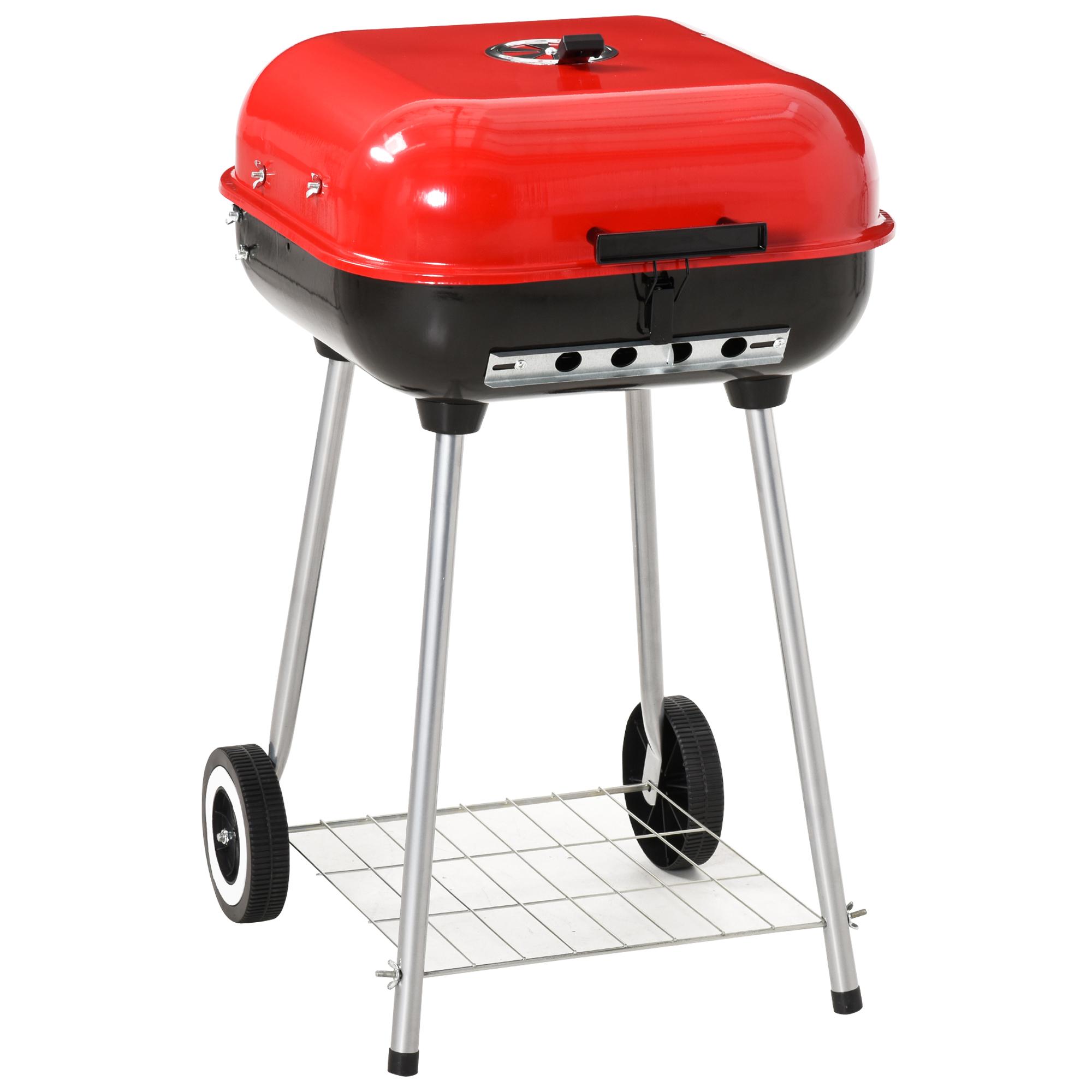 Barbecue à charbon avec couvercle et roulettes acier émaillé rouge