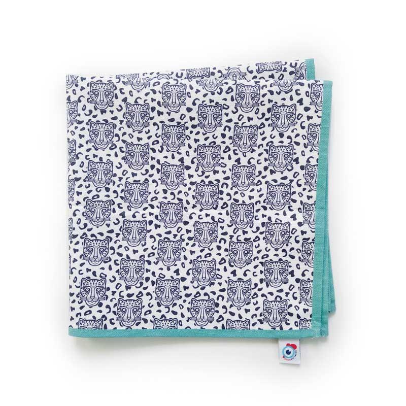 Serviette de table coton blanc léopard turquoise 40x40