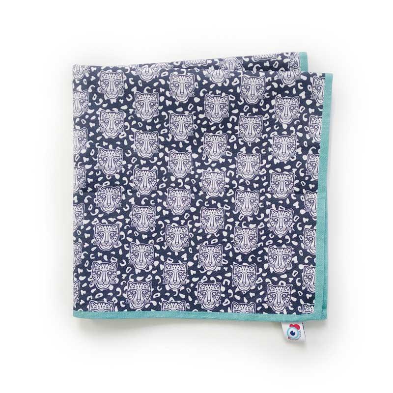 Serviette de table coton bleu léopard turquoise 40x40