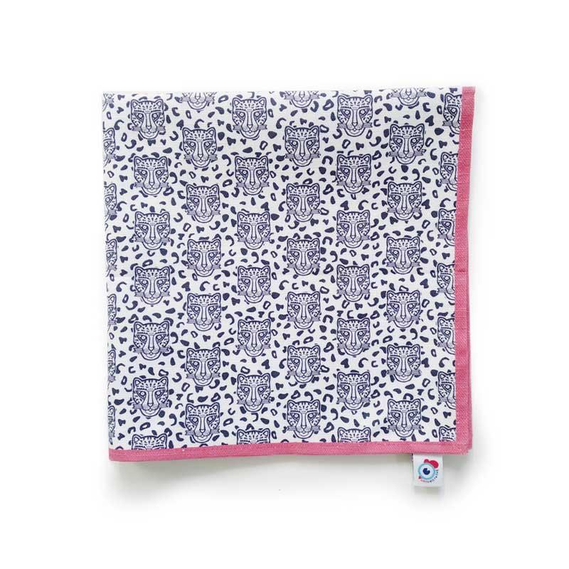 Serviette de table coton blanc léopard rose 40x40