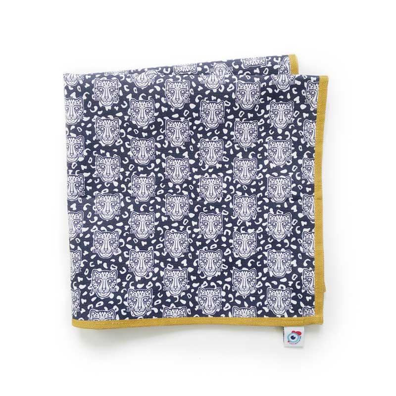 Serviette de table coton bleu léopard ocre 40x40