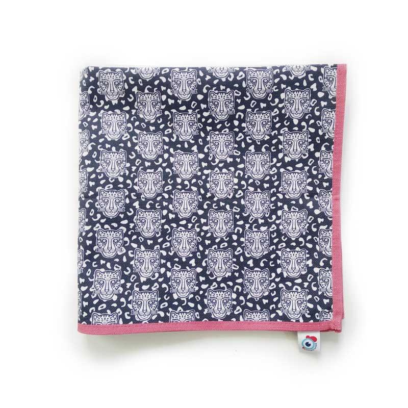 Serviette de table coton bleu léopard rose 40x40