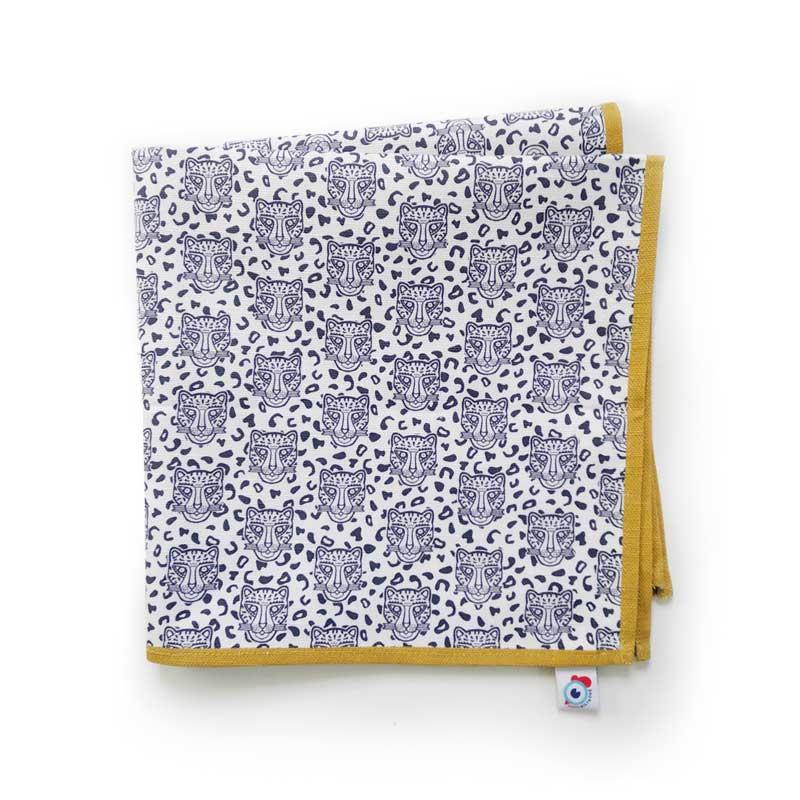 Serviette de table coton blanc léopard ocre 40x40