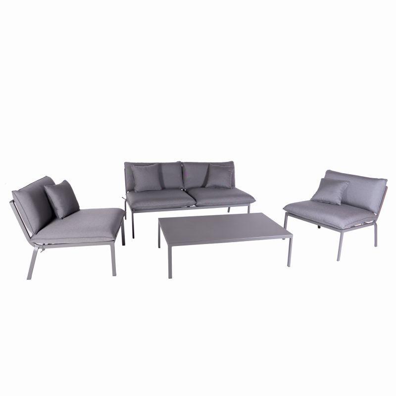 Salon de jardin bas aluminium 4 places gris