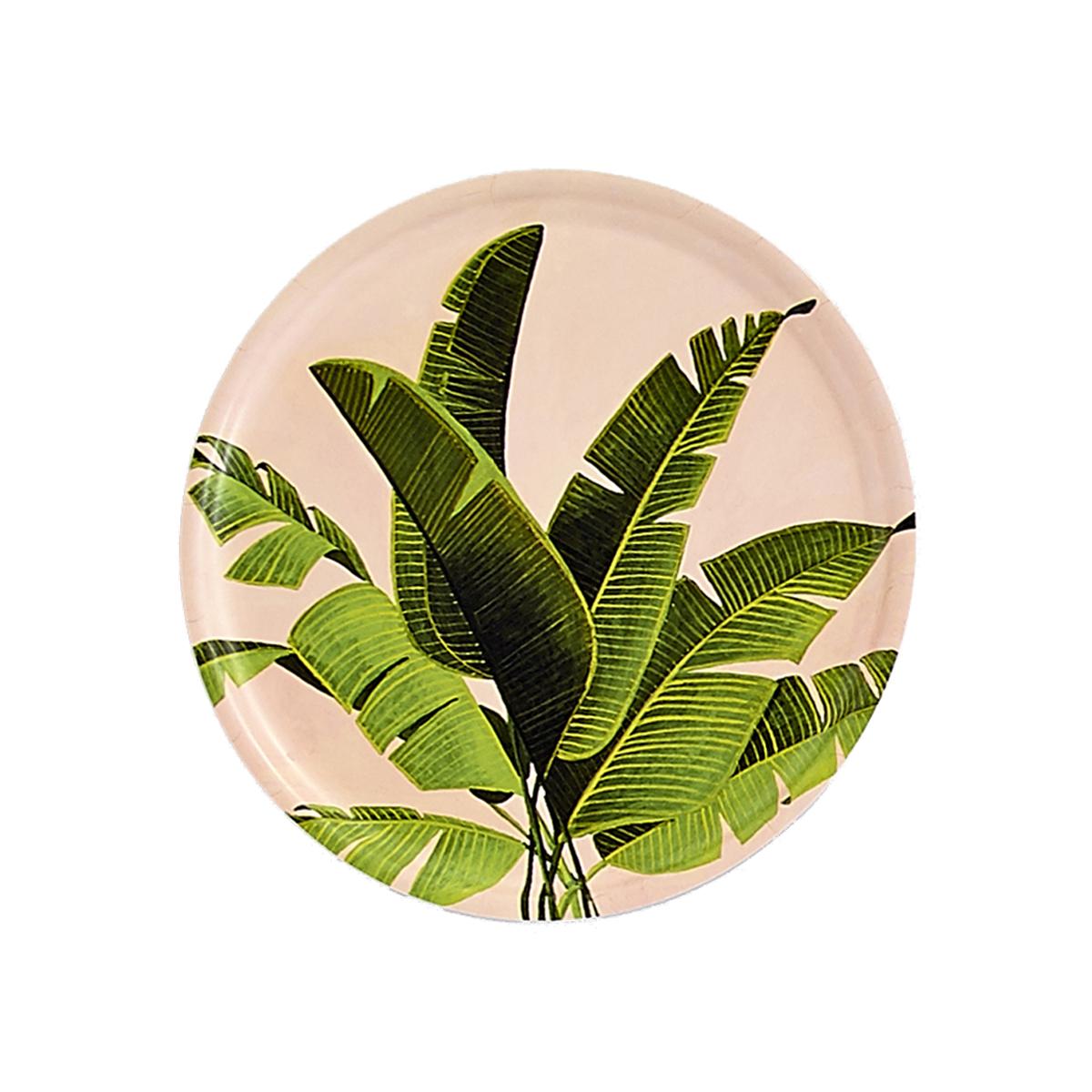 Plateau rond en bois bananier 35 cm
