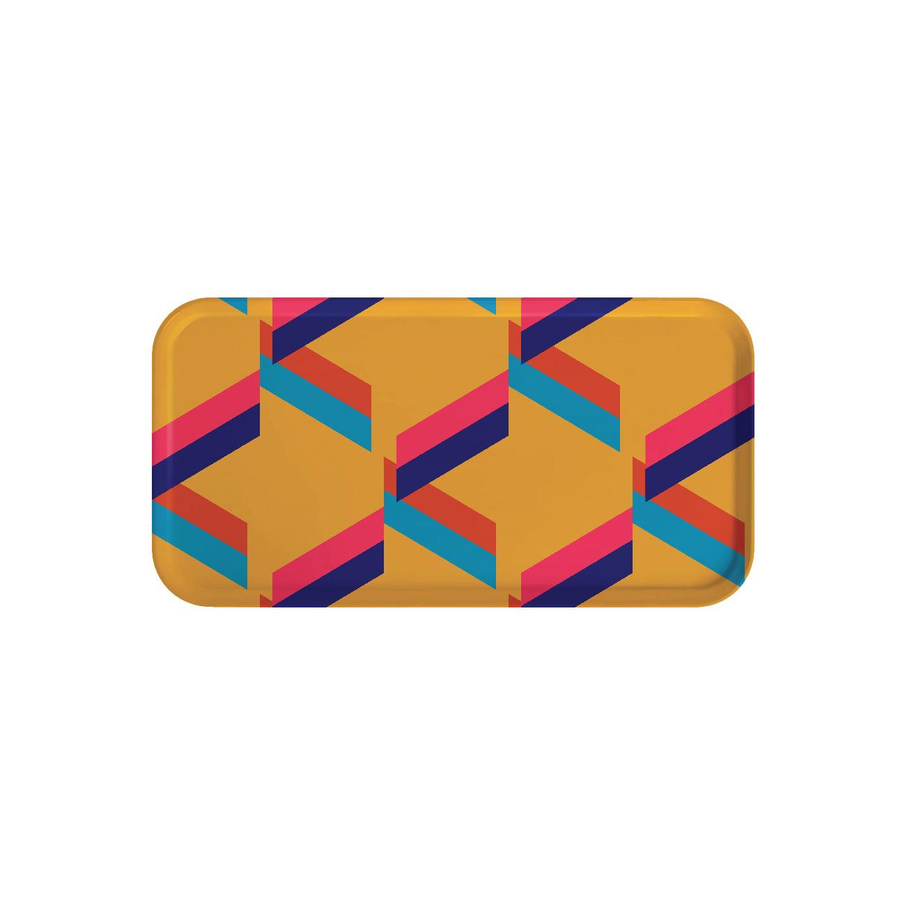Plateau rectangulaire en bois géométrique 43x22 cm