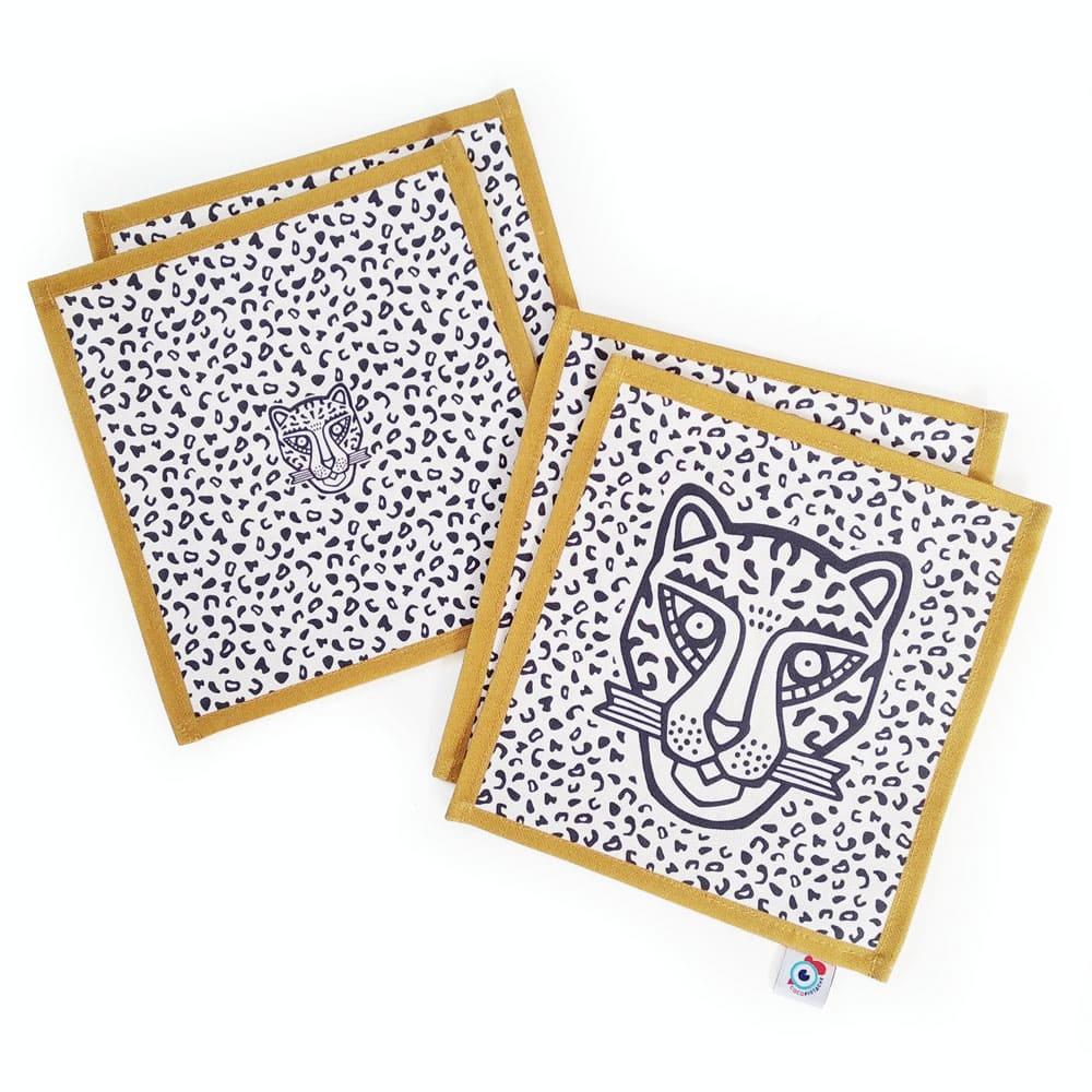 Lot 4 serviettes apéro coton bleu léopard ocre 16x16