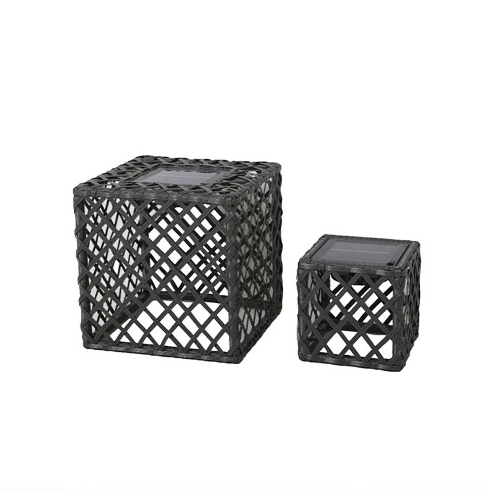 Lot de 2 lanternes cubes solaires poly rotin gris H26cm