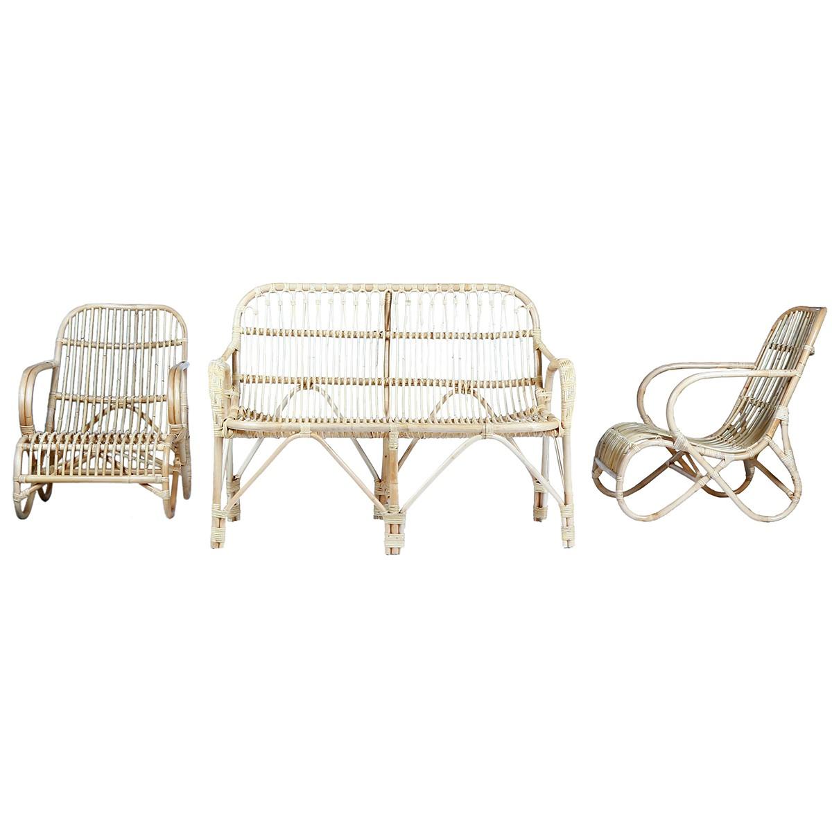 Ensemble en rotin 1 canapé et 2 fauteuils