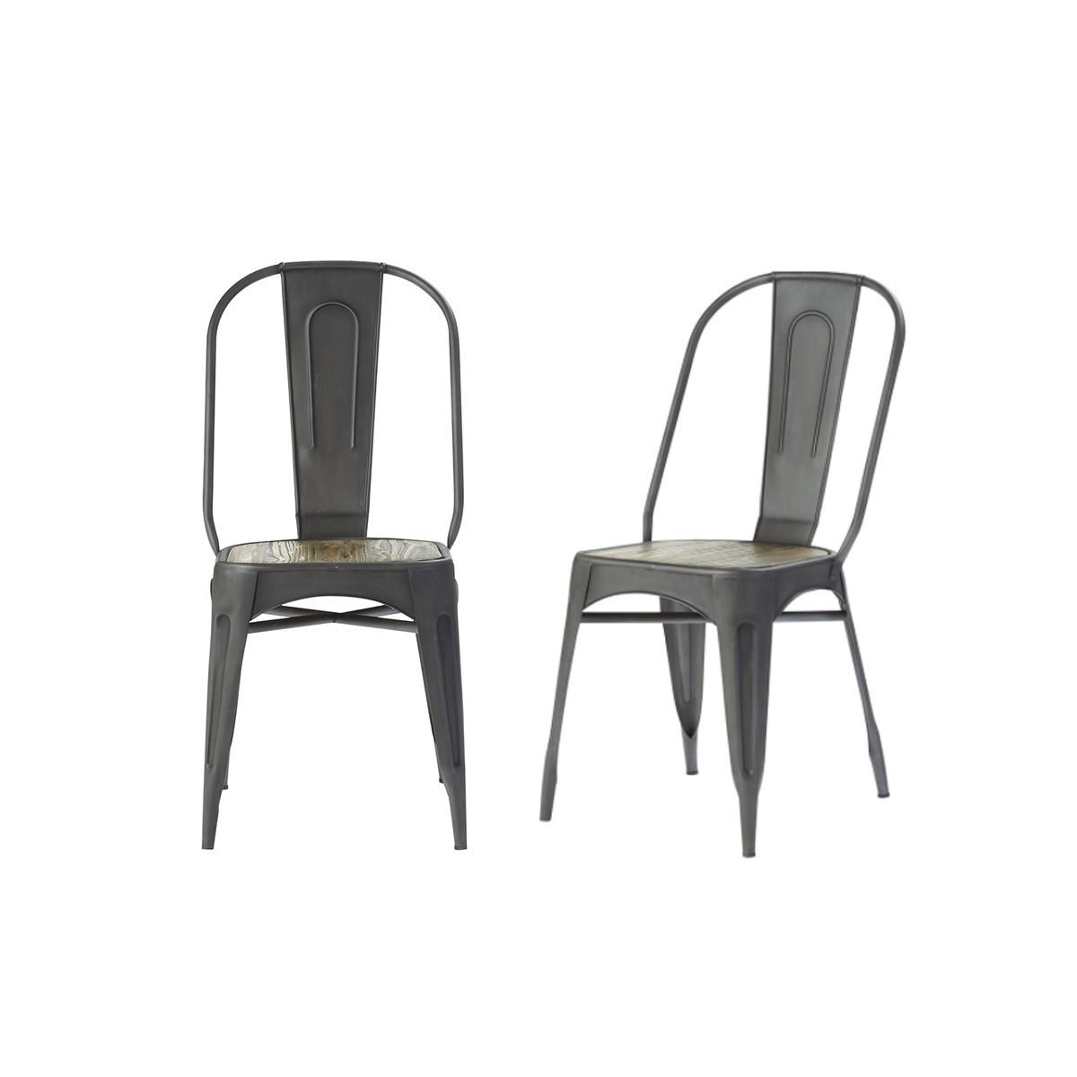 Lot de 2 chaises en métal brossé et pin recyclé