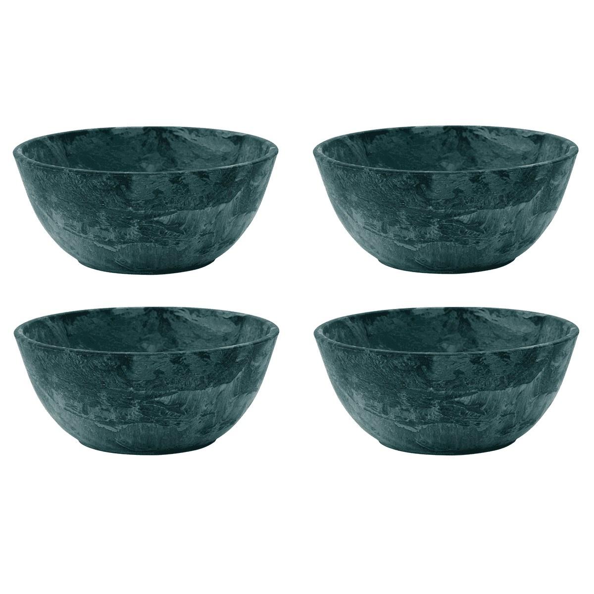 Set de bols marbrés en résine verte - Lot de 4