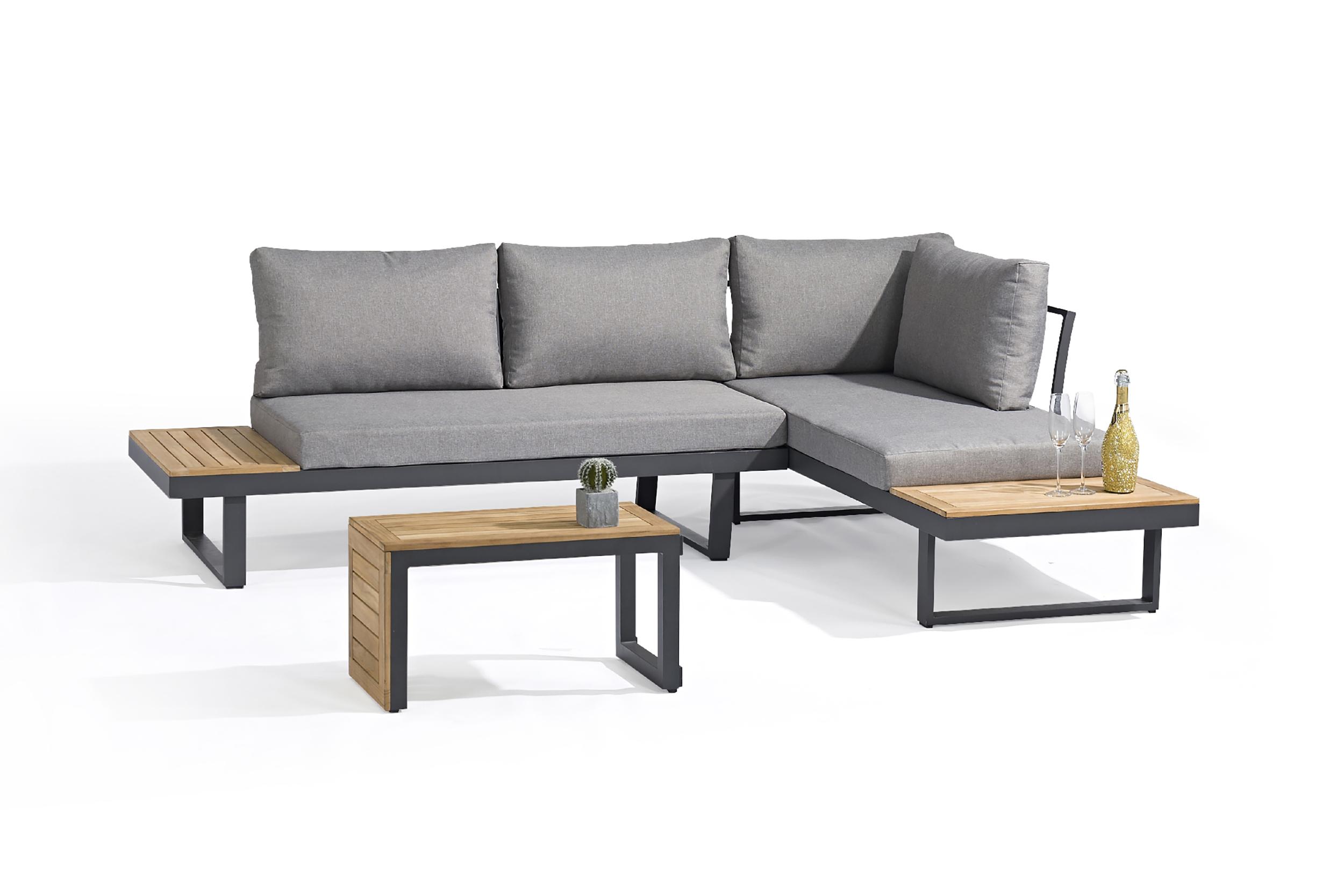 Salon de jardin modulable 4 places en bois d'acacia et aluminium gris