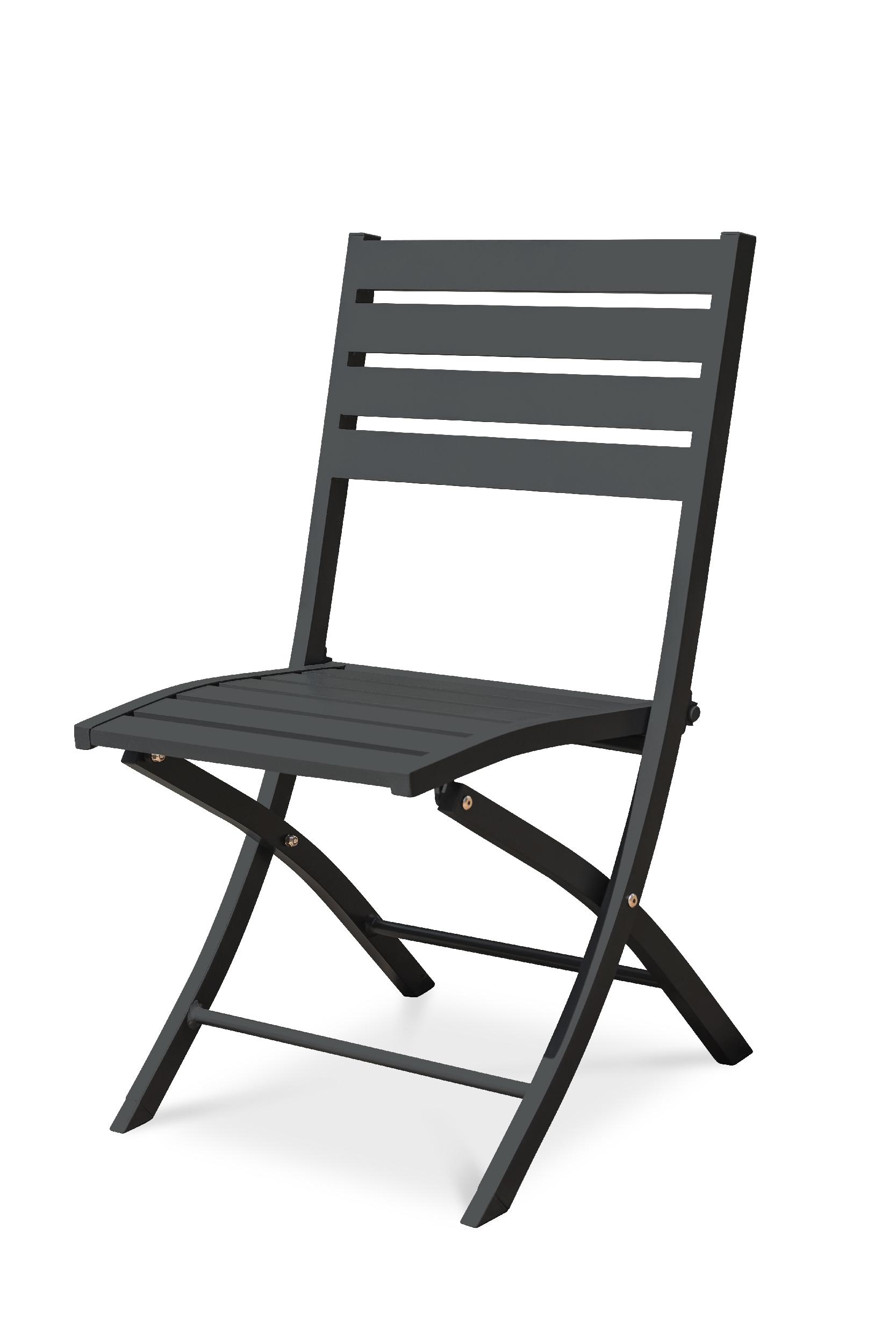Chaise de jardin pliante en aluminium gris anthracite