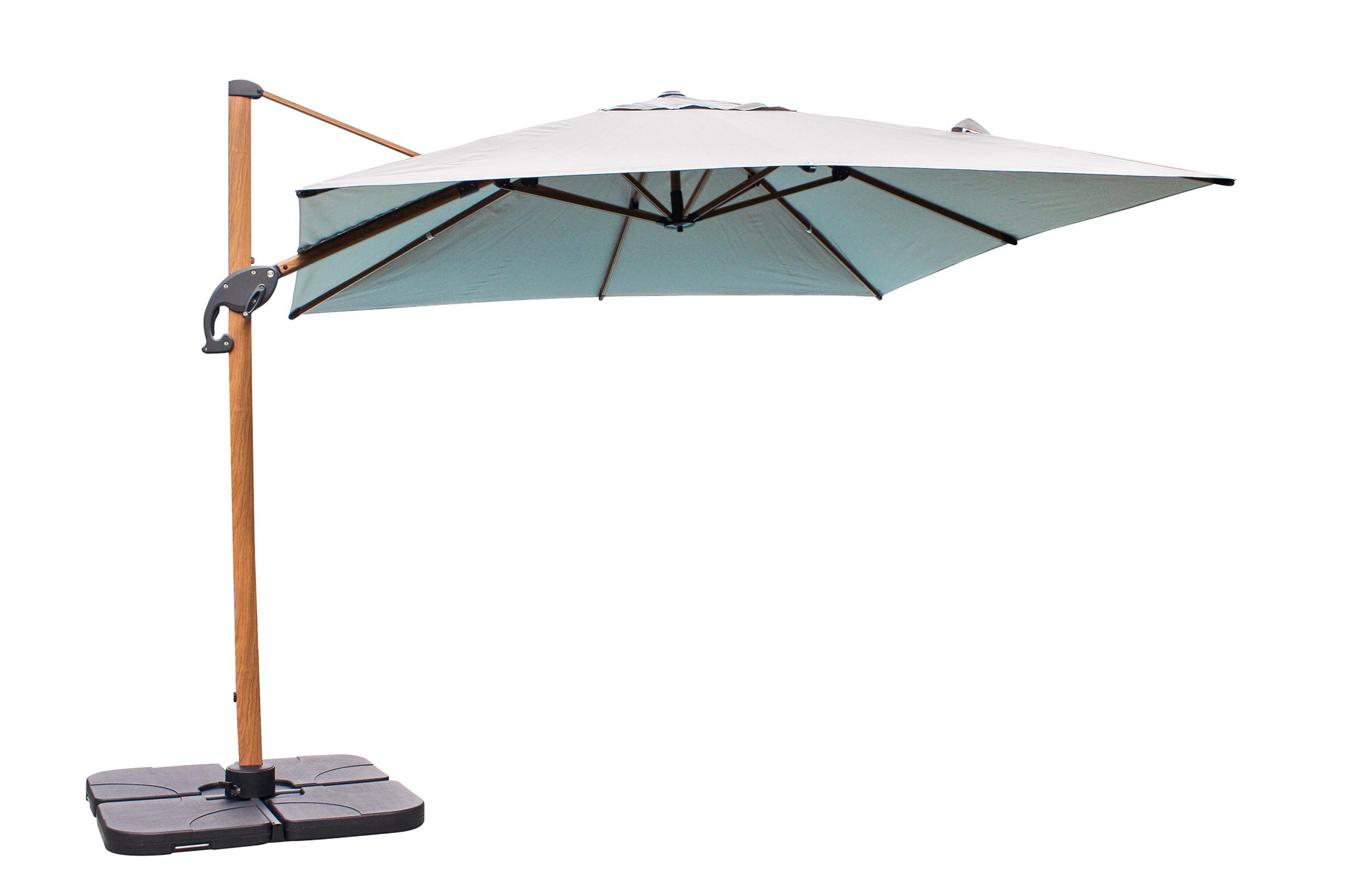 Parasol avec pied excentré en aluminium effet bois et toile écrue