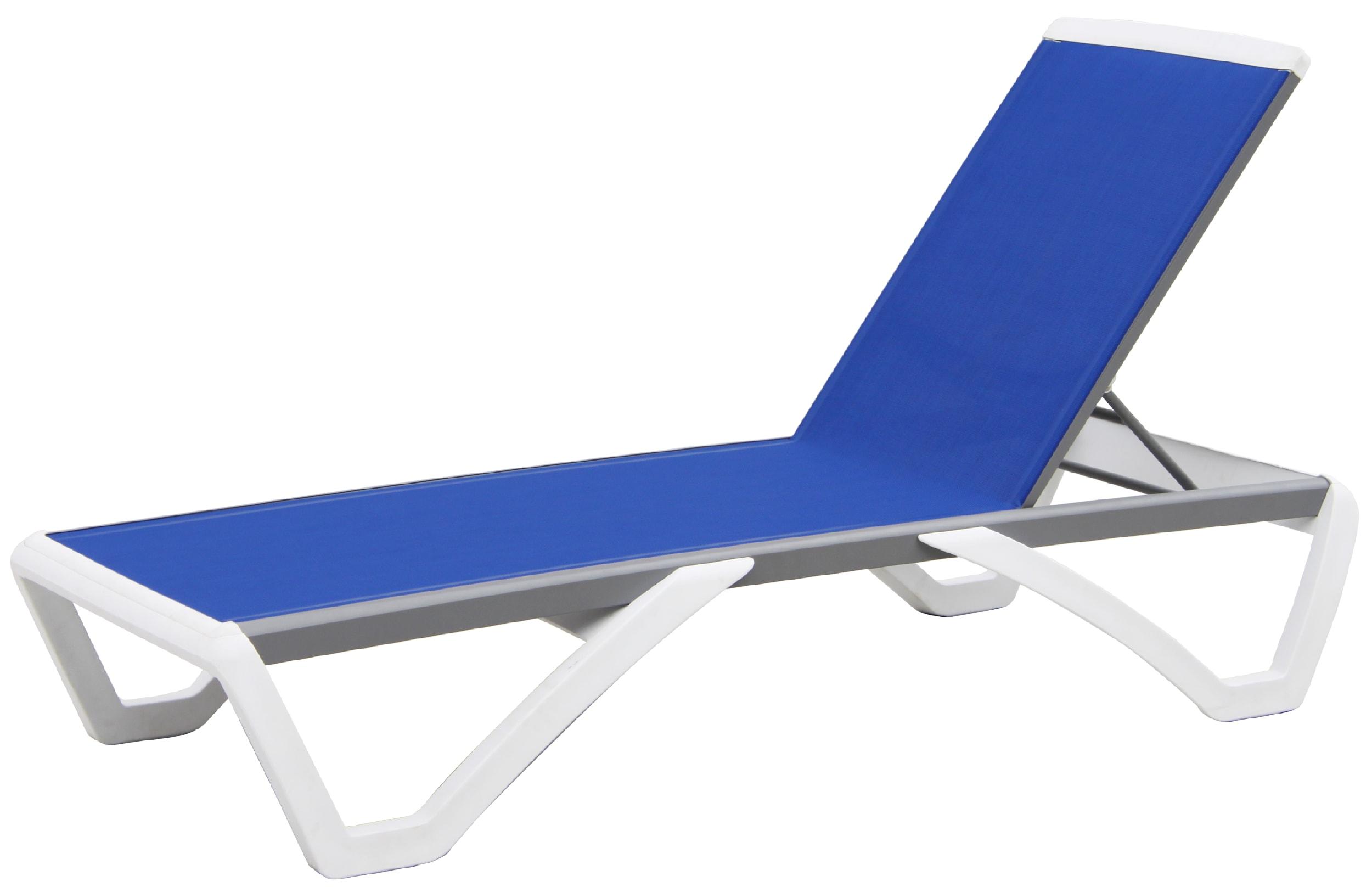 Chaise longue en PVC blanc et toile plastifiée bleue