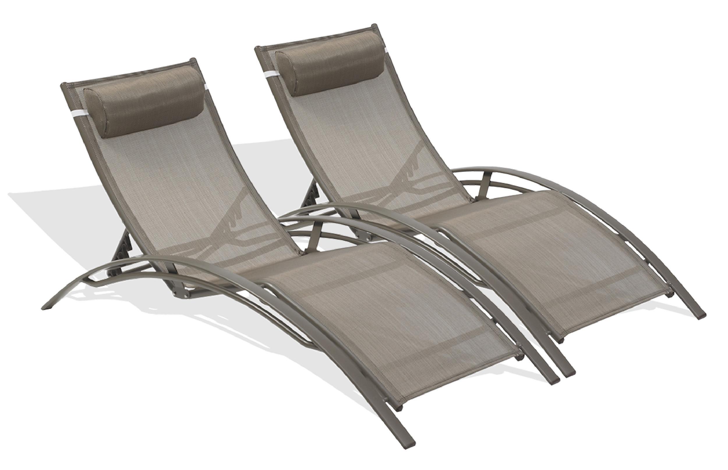 Lot de 2 chaises longues en aluminium et toile plastifiée cappuccino