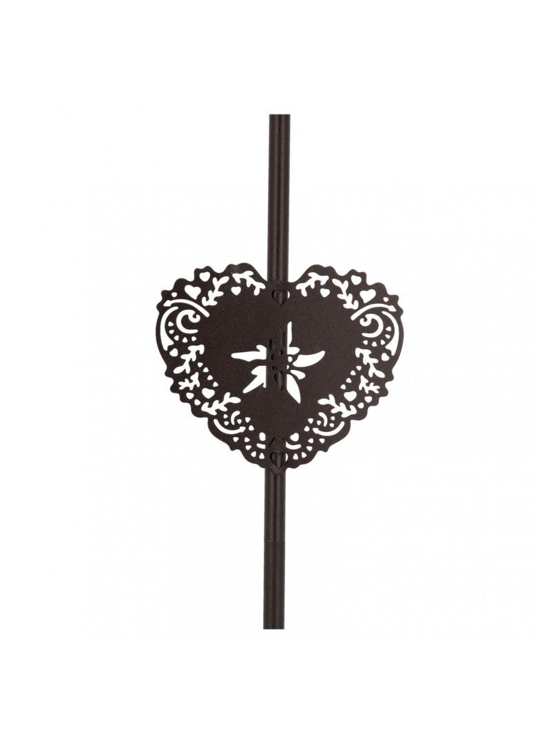 Lampadaire métal coeur edelweiss H130cm