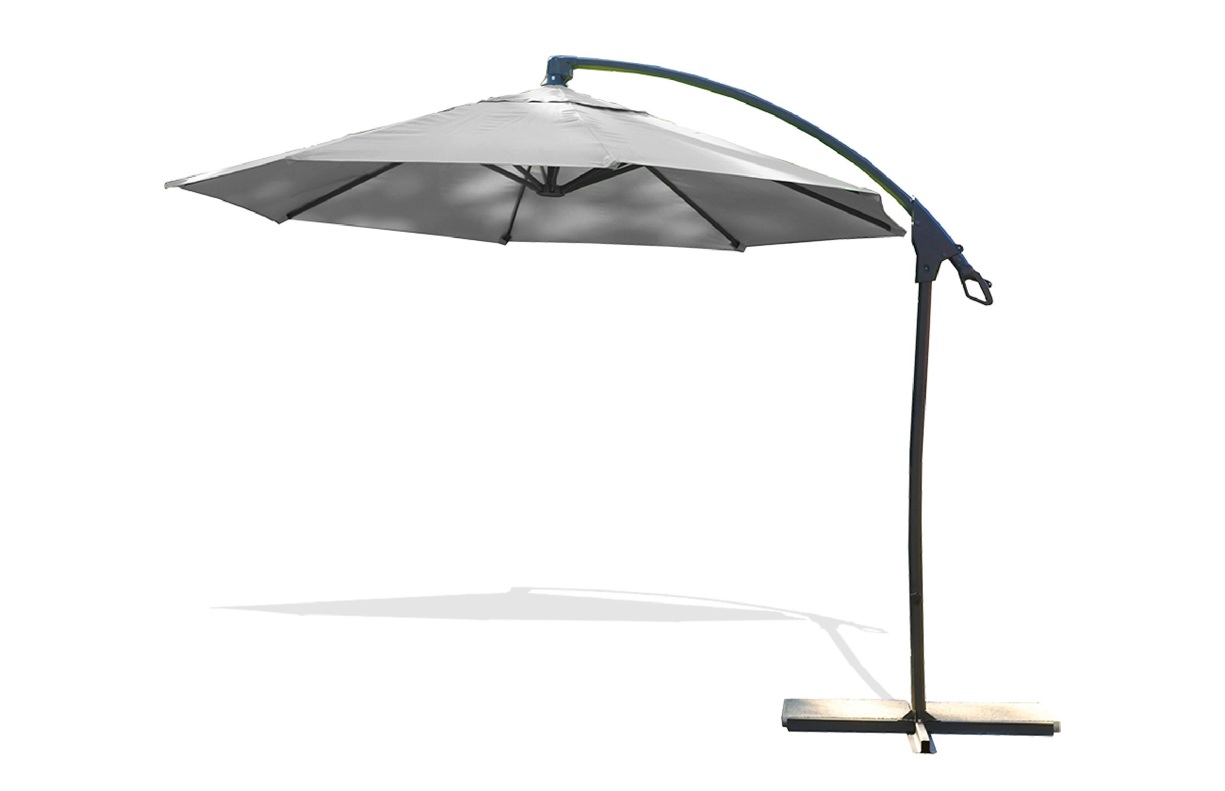 Parasol avec pied excentré en acier et toile grise