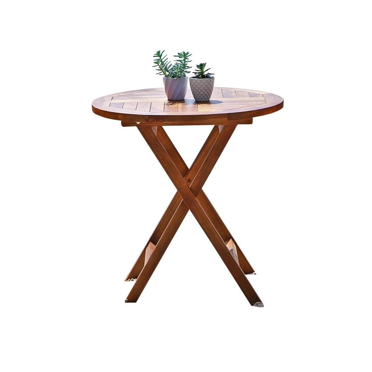 Table de jardin ronde en teck huilé 4 personnes