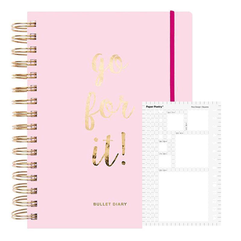 Agenda Bullet journal rose à spirales 96 feuilles + pochoir carré