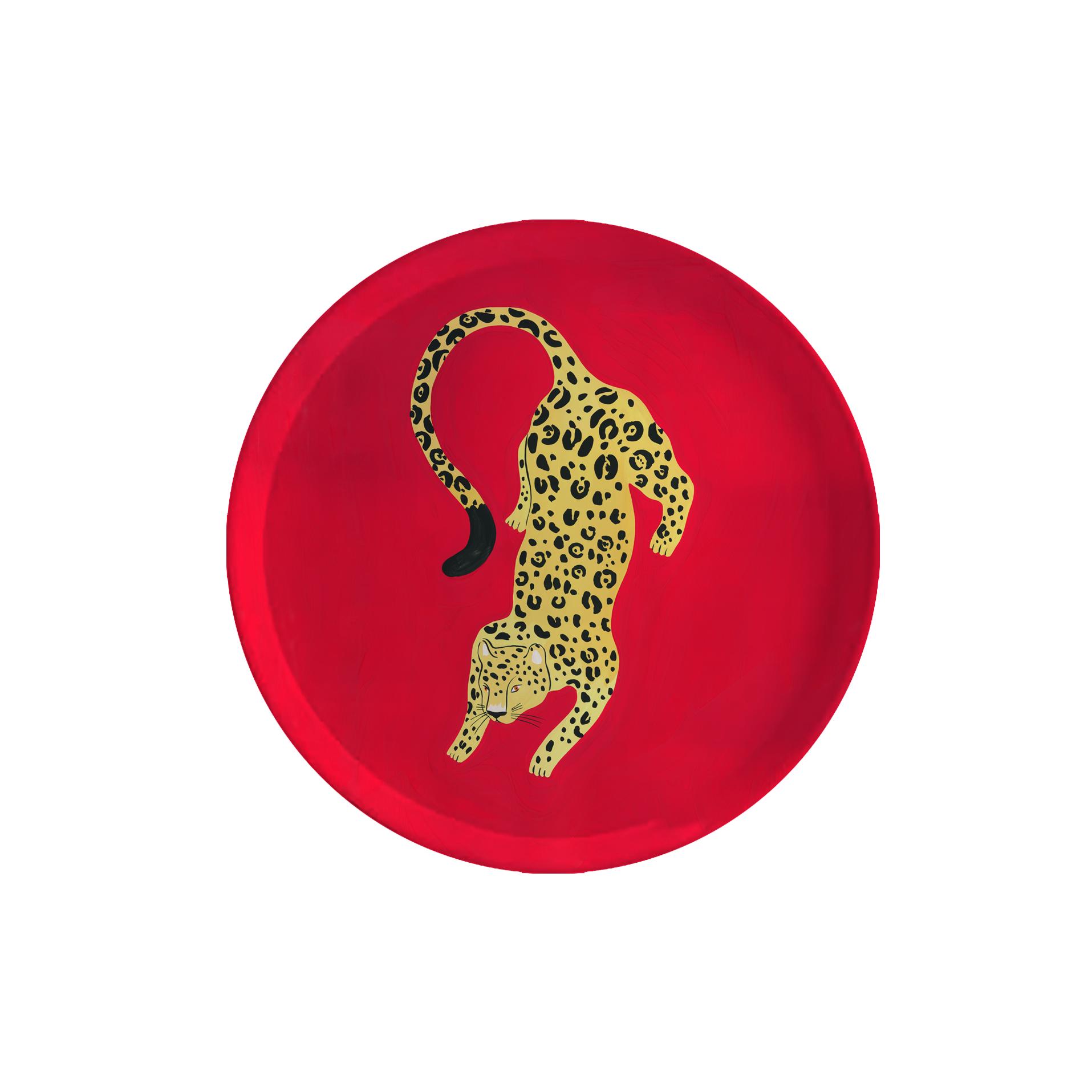 Plateau rond en bois tigre 35 cm