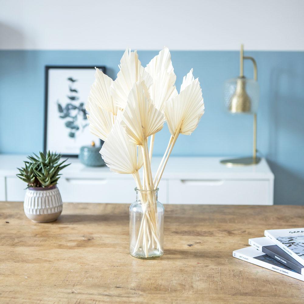 Botte de fleurs séchées palmes blanches x10