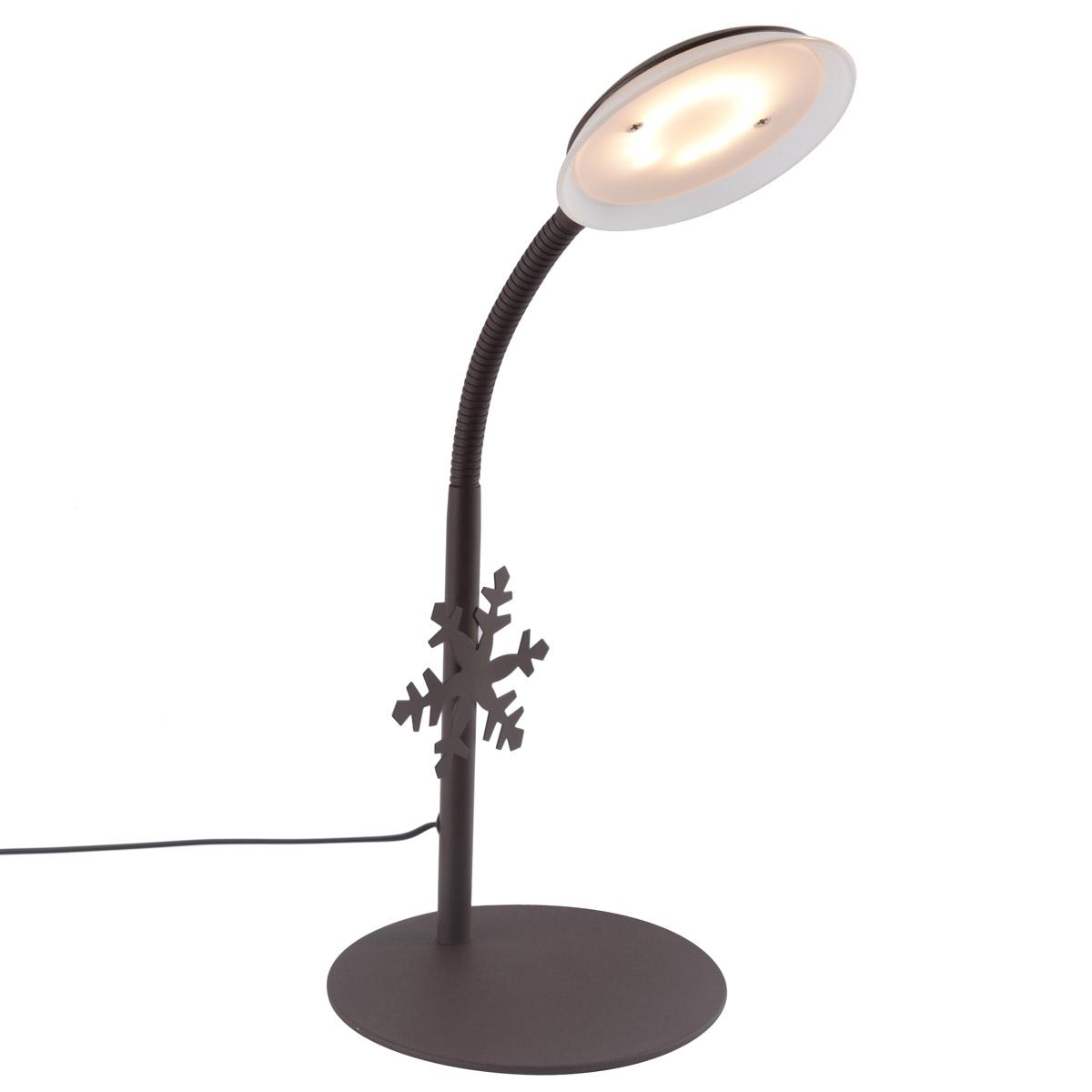 Lampe flexible led flocon métal brun H47cm