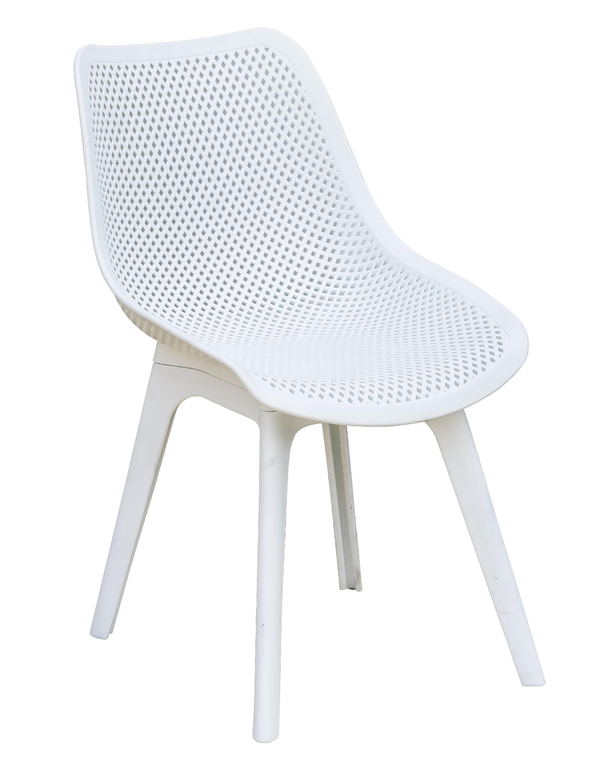 Chaise de jardin en PVC perforé blanc