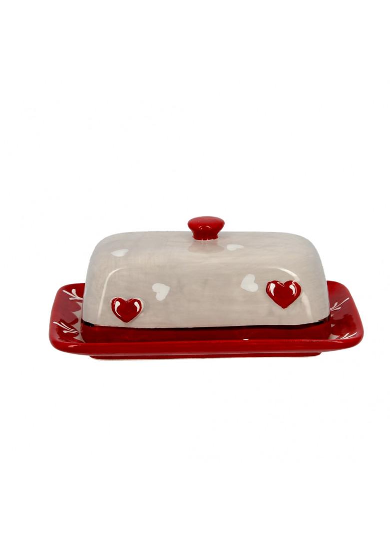 Beurrier en céramique gris et rouge
