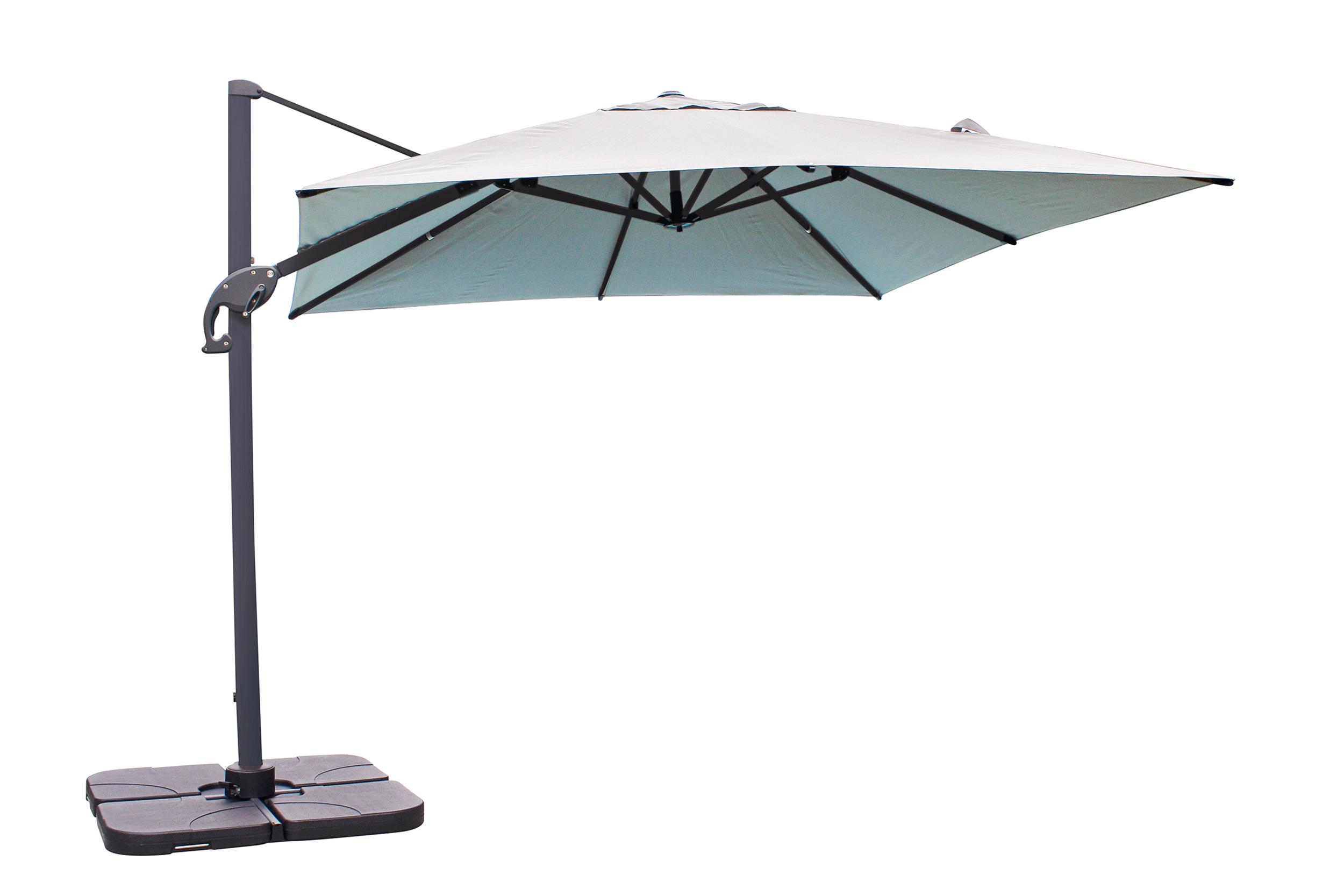 Parasol avec pied excentré en aluminium et toile grise