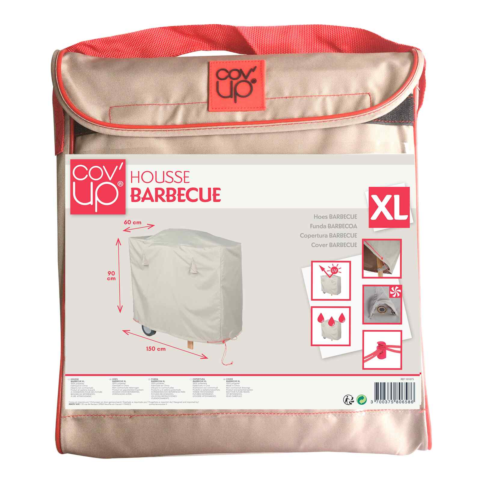 Housse de protection barbecue en polyester taupe