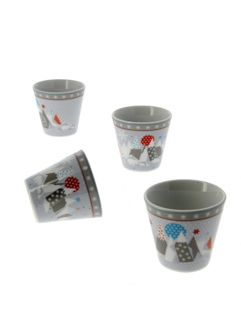 Set 4 mini mugs en porcelaine