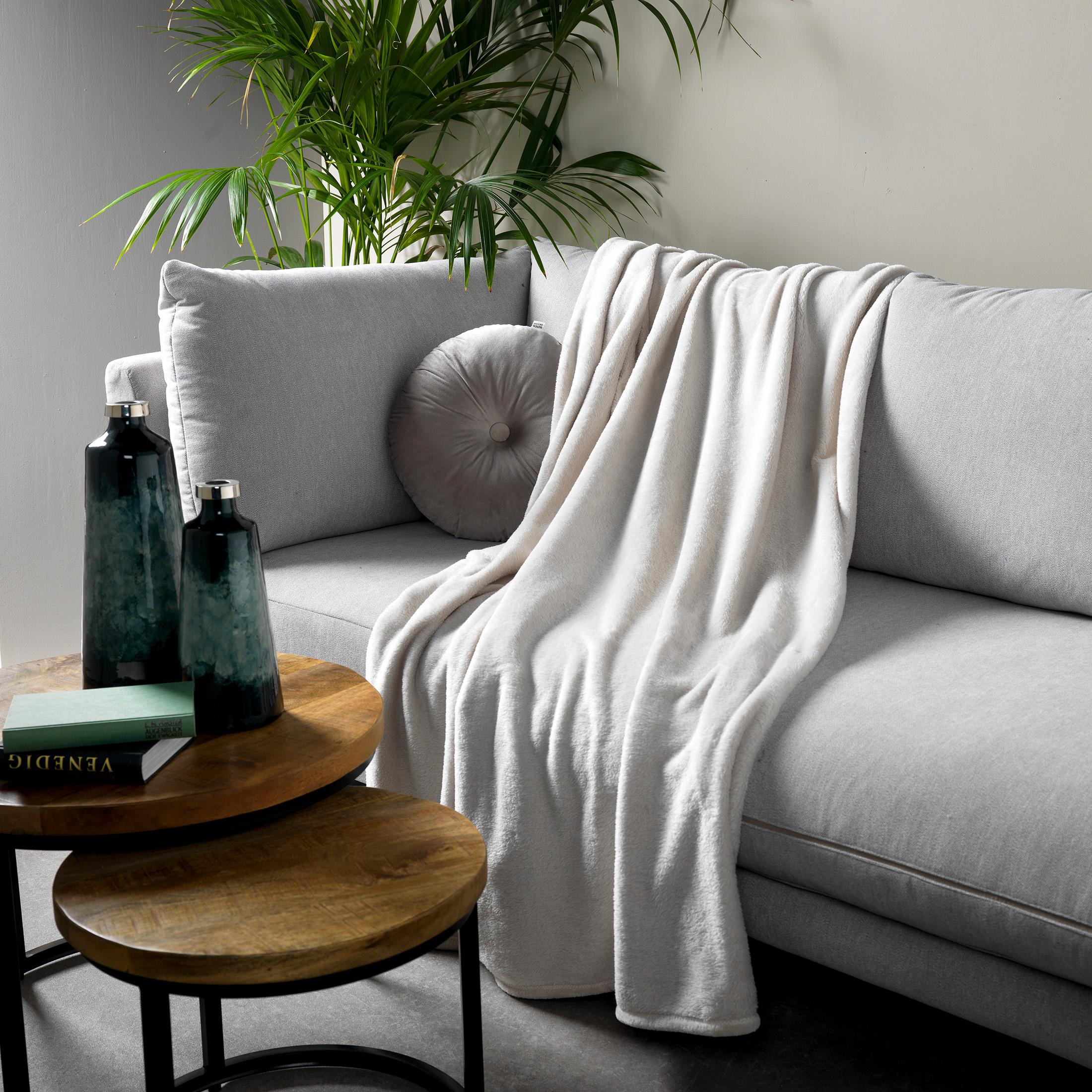 Plaid en polyester Grège 150x200