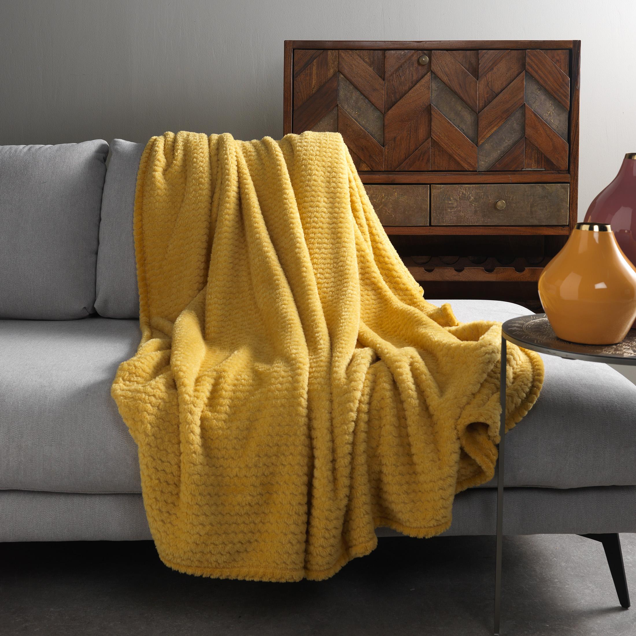 Plaid en polyester Jaune moutarde 150x200