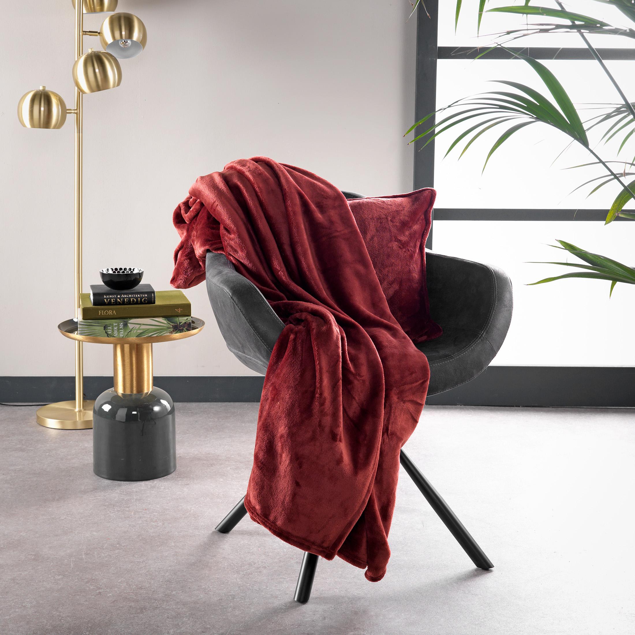 Plaid en polyester Rouge 150x200
