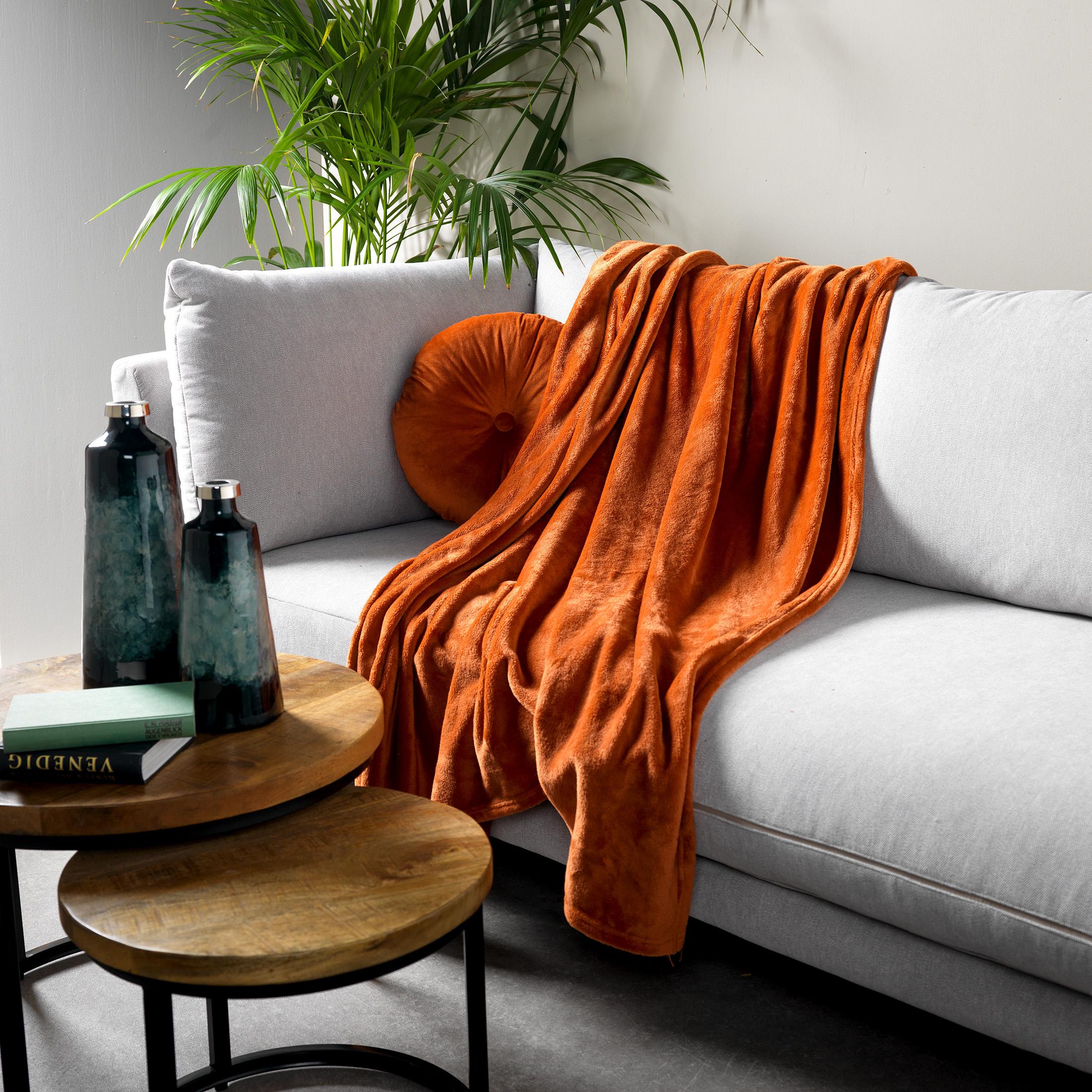 Plaid en polyester Terracotta 150x200