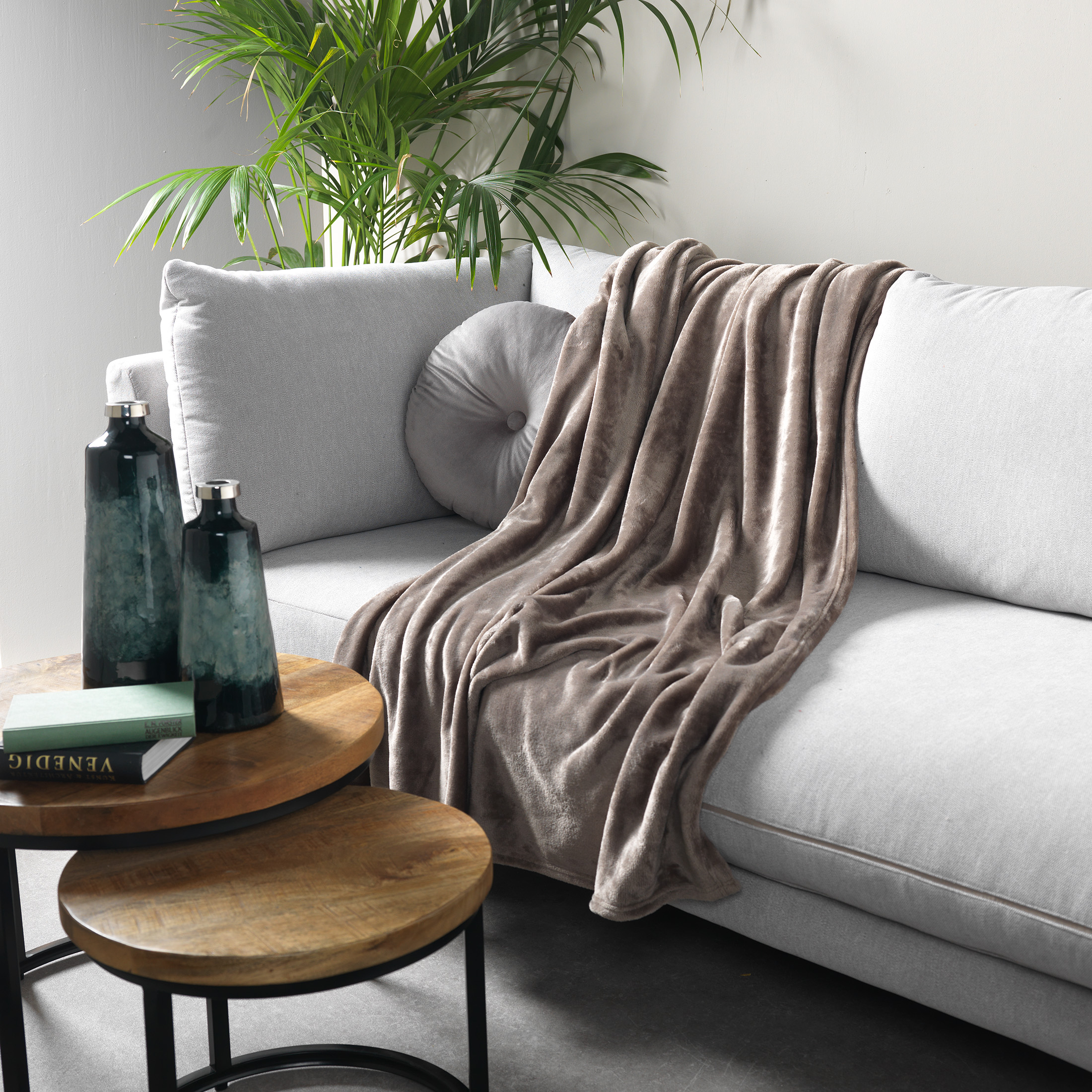 Plaid en polyester Marron 150x200