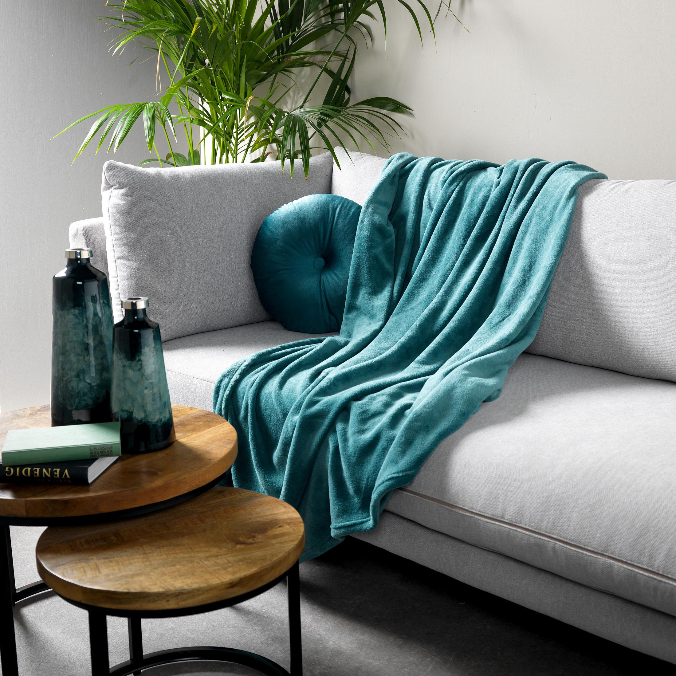 Plaid en polyester Vert foncé 150x200