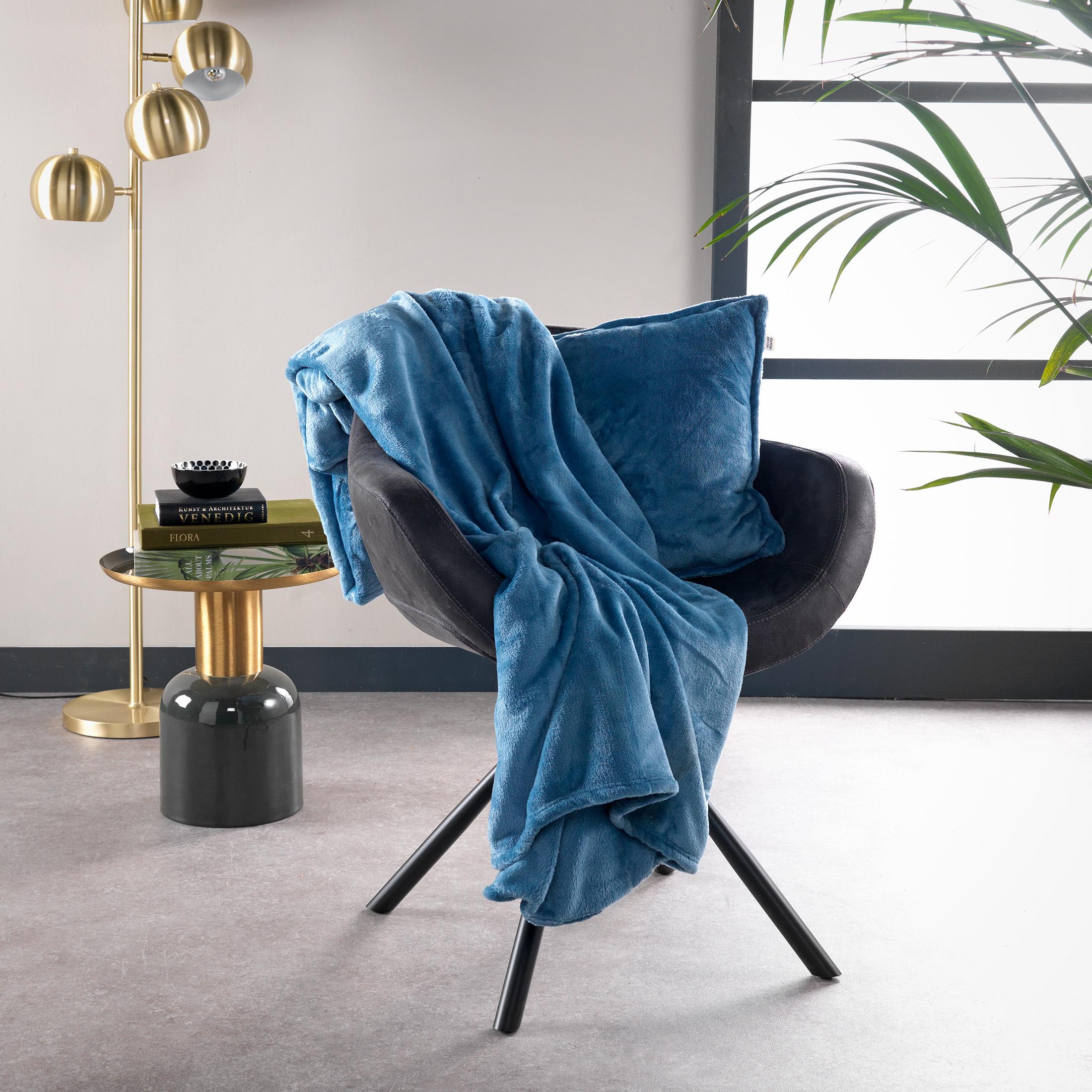 Plaid en polyester Bleu Azur 150x200