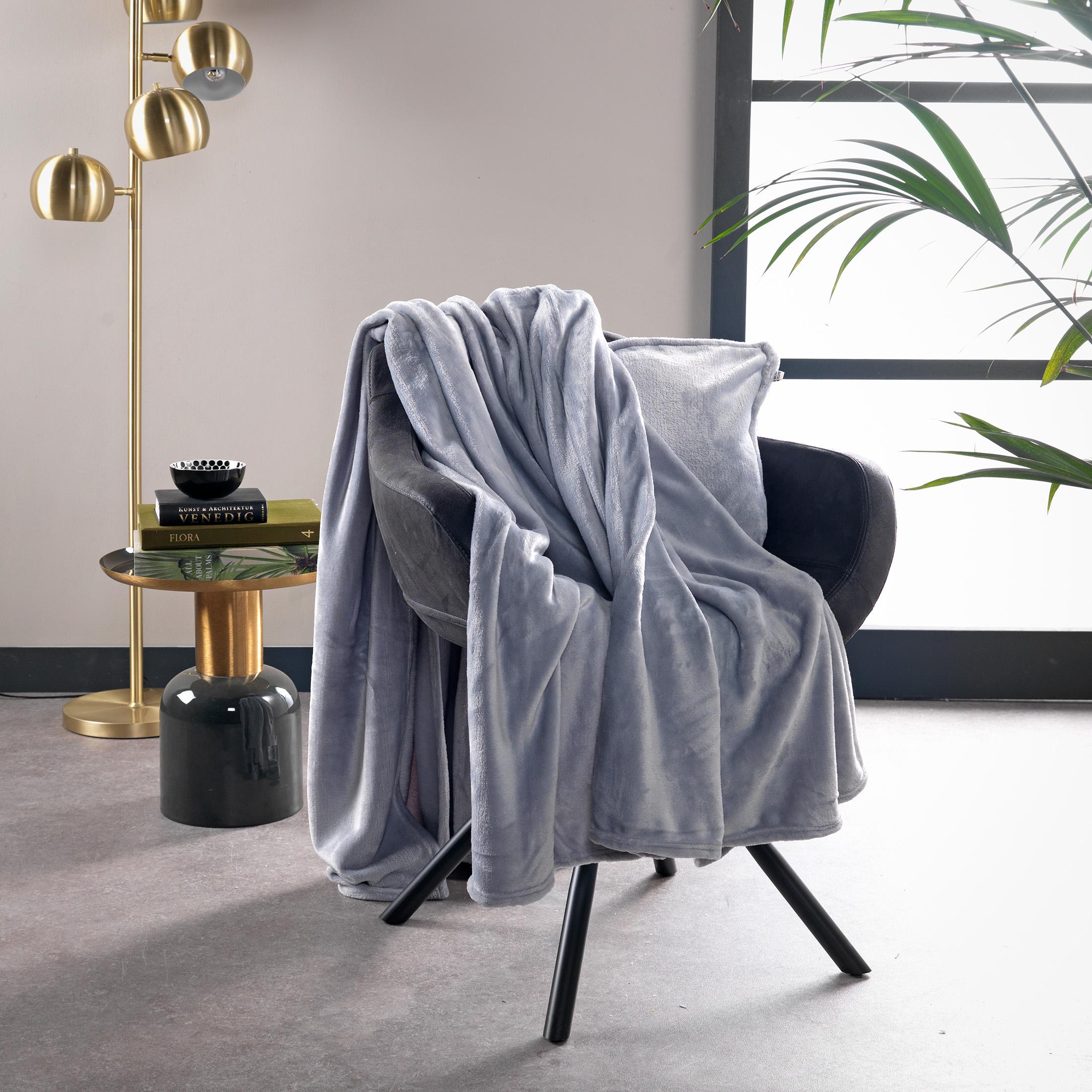 Plaid en polyester Gris souris 150x200