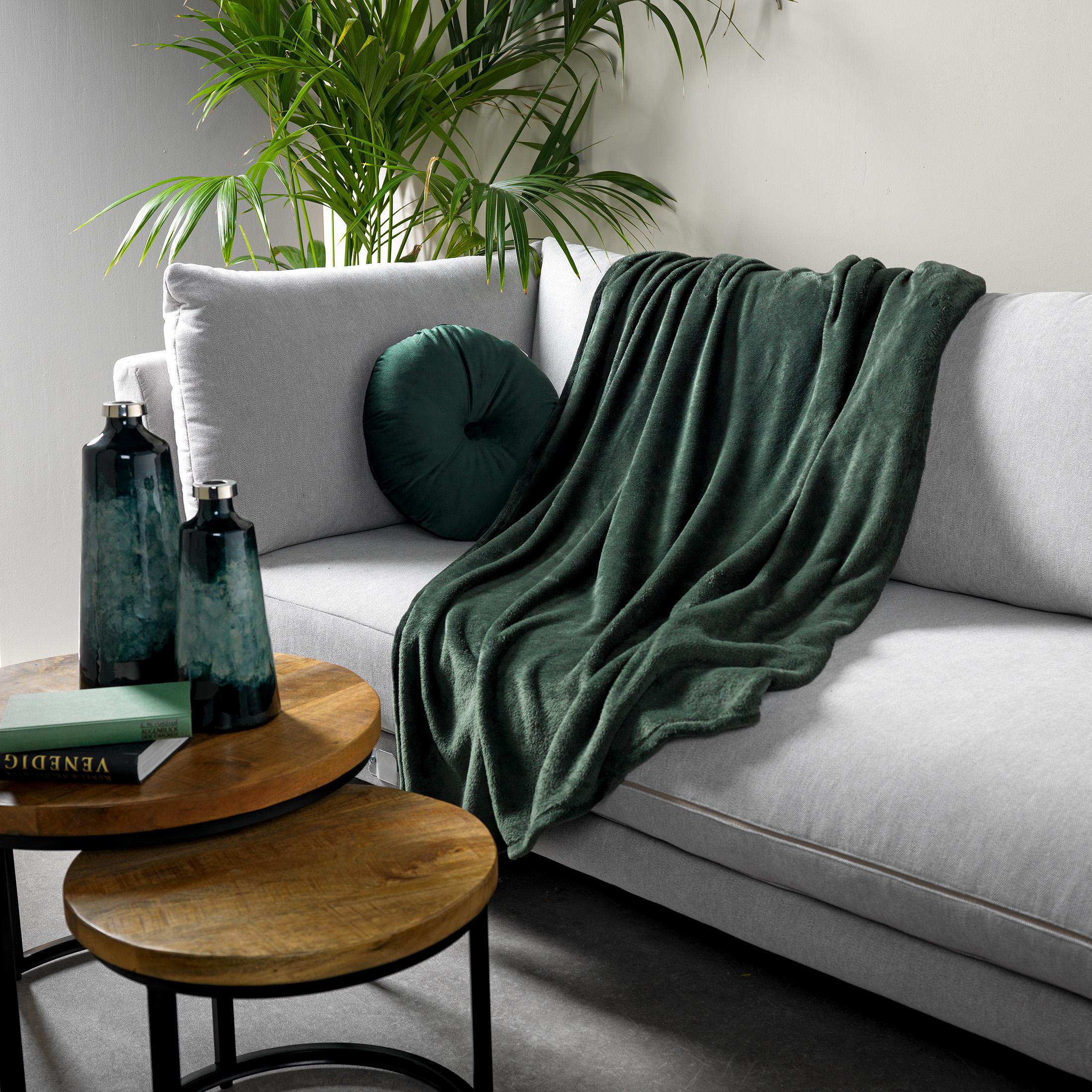Plaid en polyester Vert pin 150x200