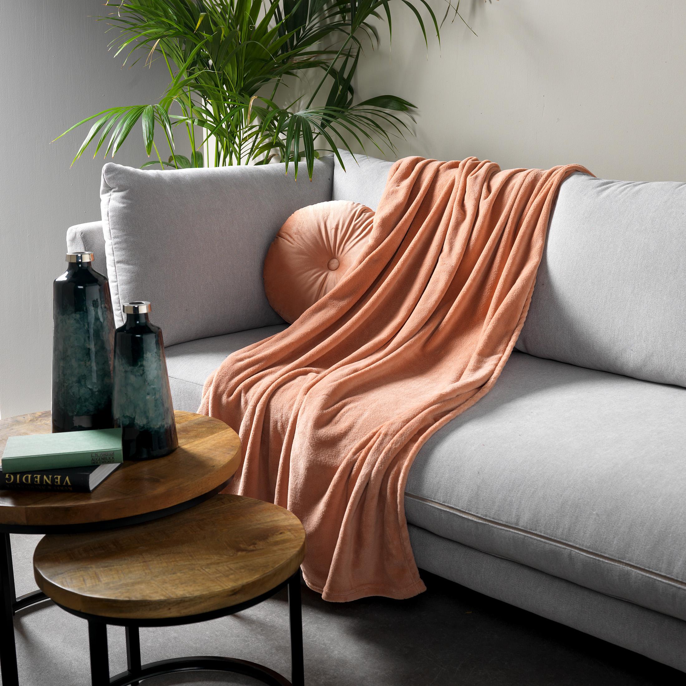 Plaid en polyester Rose saumon 150x200