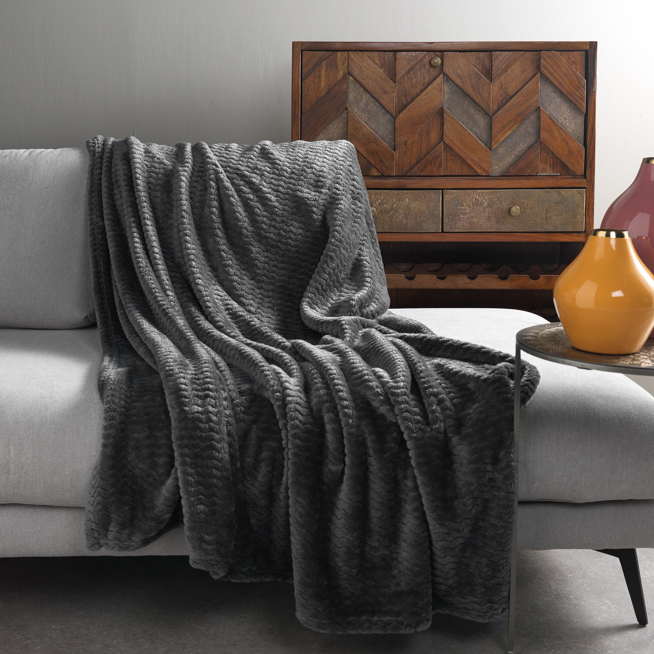 Plaid en polyester Anthracite 150x200