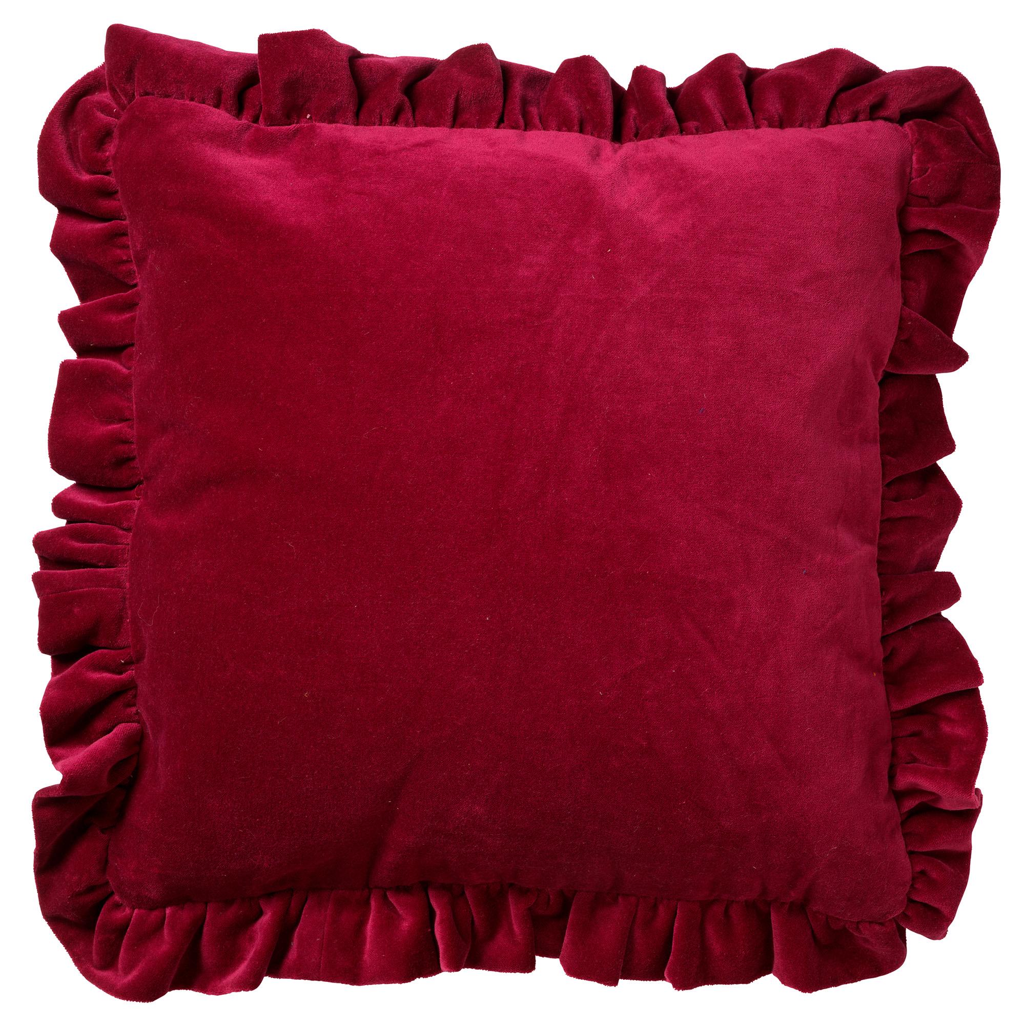 coussin en velours Prune rouge 45x45