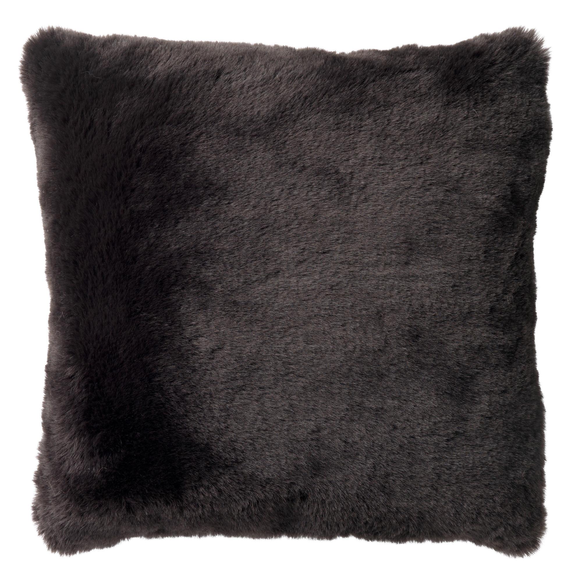 coussin imitation fourrure Noir 45x45