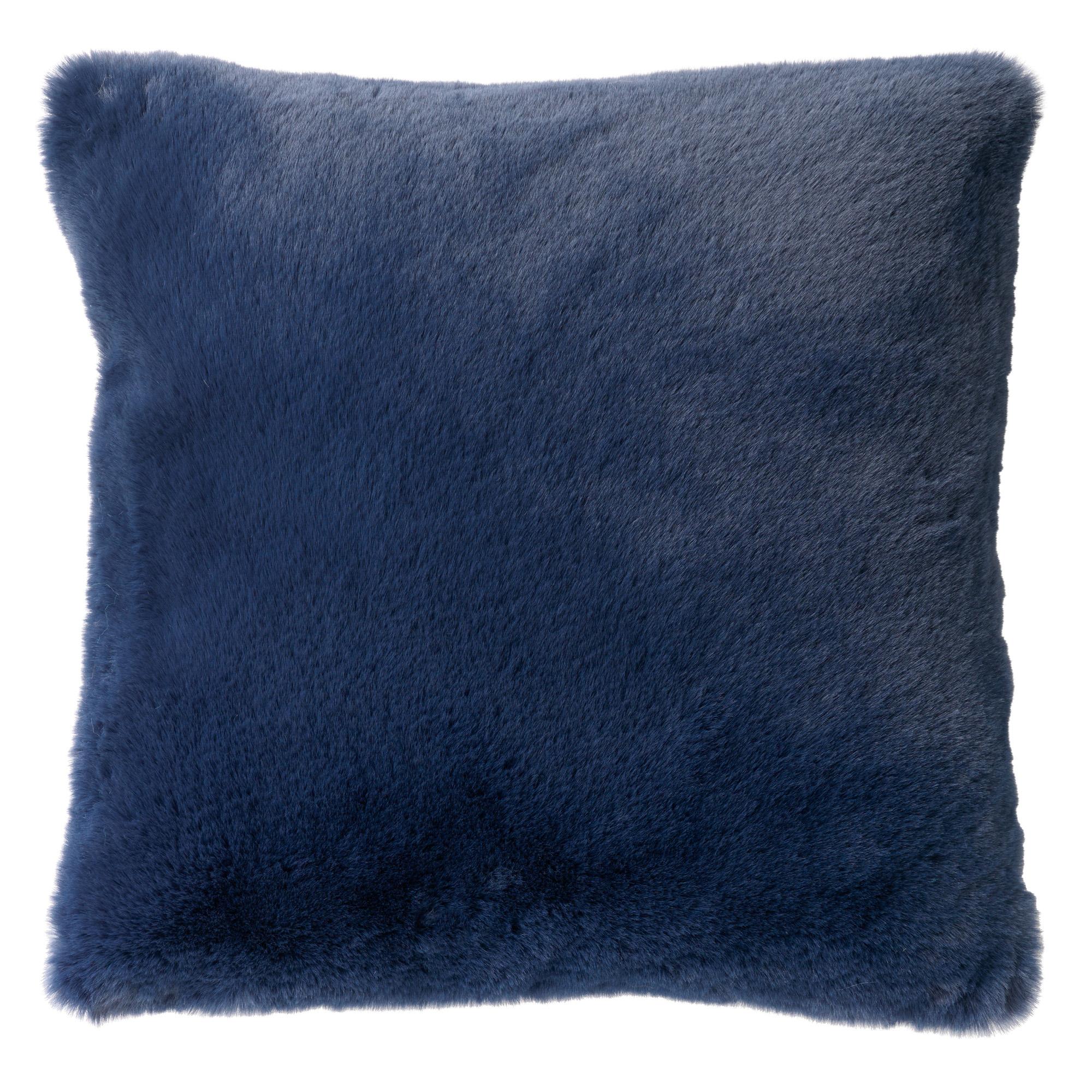 Coussin imitation fourrure Bleu saphir 45x45
