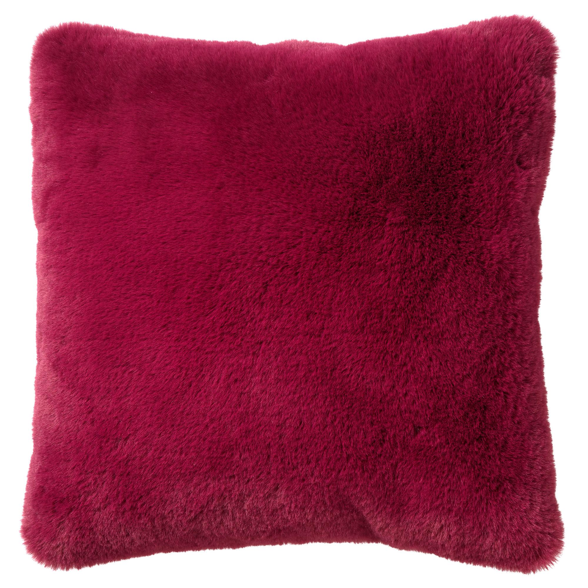 Coussin imitation fourrure Prune rouge 45x45