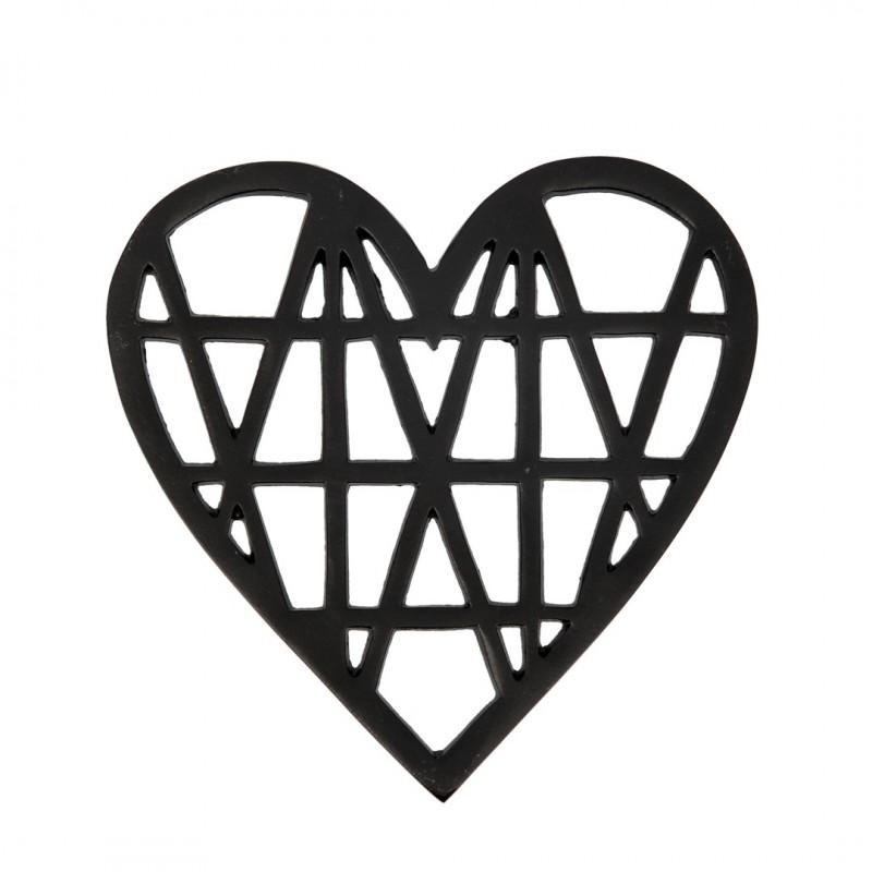 Dessous de plat cœur en fonte noir géométrique