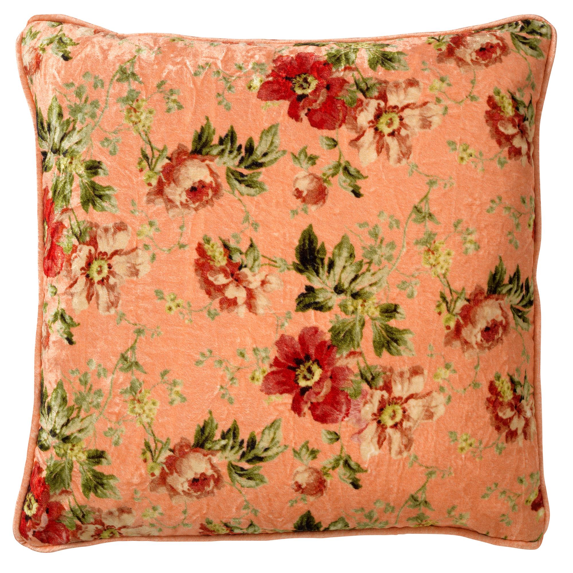 Housse de coussin en velours avec des fleurs Rose saumon 45x45